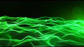 Abstract green color digital particles wave with bokeh and light background stock illustration