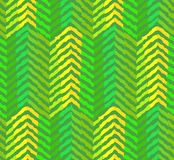 Abstract green coniferous forest pattern. Abstract green coniferous or pine-tree forest seamless pattern. Bright geometric texture with green and yellow zigzags Stock Photo