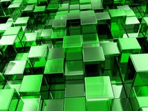 Abstract green cubes background. Abstract background formed from green cubes. 3D illustration Royalty Free Stock Images