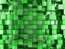 Abstract green cubes background. Abstract background formed from green cubes. 3D illustration Royalty Free Stock Photo
