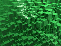 Abstract green cubes. 3d illustration. Colorful creative background. Geometric wallpaper Vector Illustration