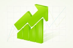 Abstract green 3D chart icons with arrow and shadow Stock Images