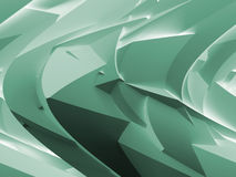 Abstract green digital 3d chaotic polygonal surface. Background texture with shear effect Royalty Free Stock Images