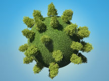 Abstract green Earth planet with trees. And blue sky. Large resolution Royalty Free Stock Photos