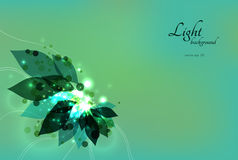 Abstract green eco background with leaves and. Sparkles. Vector illustration eps 10 Stock Photos