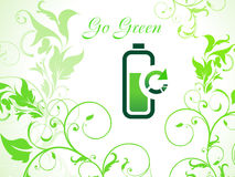 Abstract green eco background with refresh icon Stock Photography