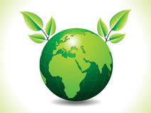 Abstract green eco globe with leaf Stock Image