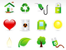 Abstract green eco icon set. Vector illustration Stock Photography