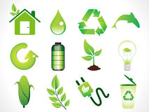 Abstract green eco icons set. Vector illustration Stock Photography