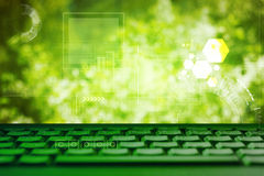 Abstract green eco technolgy business concept with keyboard Royalty Free Stock Photos