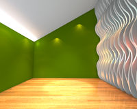 Abstract green empty room with wave wall Royalty Free Stock Photo