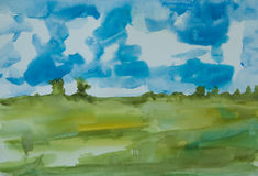 Abstract green field with blue sky Royalty Free Stock Photography