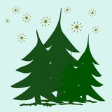 Abstract green fir trees and golden stars on snow. Abstract background, a small group of green fir trees and golden stars on snow royalty free illustration