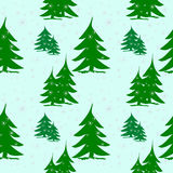 Abstract green fir trees on snow with silver snowflakes. Abstract background, seamless pattern, green fir trees on snow, silver snowflakes snowing Royalty Free Stock Image