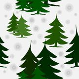 Abstract green fir trees on snow with silver snowflakes. Abstract winter background, different green fir trees, in groups and separated, on snow with silver Stock Images