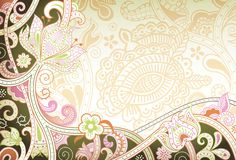 Abstract Green Floral Background. Illustration of abstract floral background in trendy style Stock Photos