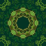 Abstract green floral background with round vector pattern Royalty Free Stock Images
