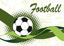 Abstract green football waves and ball.Horizontal football Stock Image