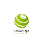 Abstract green forest sign. Abstract stripped vector logo template, round swirl simple logotype. Stock Photo