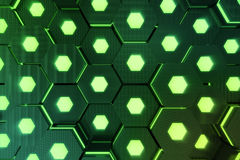 Abstract green of futuristic surface hexagon pattern with light rays. 3D Rendering. Abstract green of futuristic surface hexagon pattern with light rays, 3D Royalty Free Stock Photos