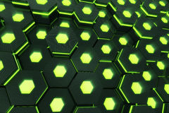 Abstract green of futuristic surface hexagon pattern with light rays. 3D Rendering Stock Photo