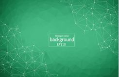 Abstract Green Geometric Polygonal background molecule and communication. Connected lines with dots. Concept of the science, chemi. Stry, biology, medicine royalty free illustration
