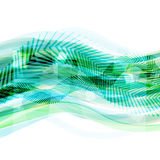 Abstract green geometrical background with moving lines Stock Photo
