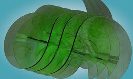 Abstract green glass object 3d. Render royalty free illustration