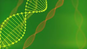 Abstract green glittering DNA double helix with depth of field. Animation of DNA construction from debrises 3d rendering stock video footage