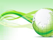 Abstract green globe with wave  background Stock Image
