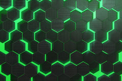 Abstract green glowing pattern, colorful background of futuristic surface with hexagons. 3d rendering Stock Photography