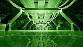 Abstract Green Glowing Sci Fi Futuristic Corridor Design. 3D Rendering. 3D rendering of abstract dark glowing green sci fi futuristic corridor hallway spaceship Stock Photos