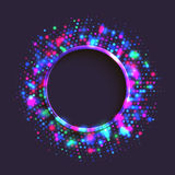 Abstract green and gold round frame. Abstract blue and purple circle frame of colorful disco lights shining and shimmering on the black background Stock Photo