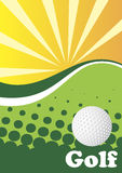 Abstract green golf background with sun rays. Vector illustration Stock Photos