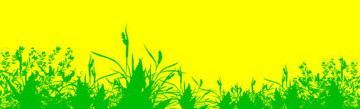 Abstract green grass. Over yellow surface - illustrated background Royalty Free Stock Images