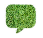 Abstract green grass bubble talk isolate. On over white background Royalty Free Stock Images