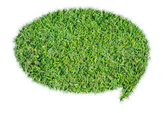 Abstract green grass bubble talk isolate. On over white background Stock Photography