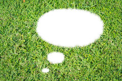 Abstract green grass bubble talk isolate. On over white background Stock Photo