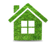 Abstract green grass house icon. Grass home icon, isolated on white background. Abstract green grass house icon on over white background. Ecology concept royalty free stock photos
