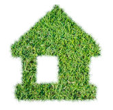 Abstract green grass house icon. On over white background stock image