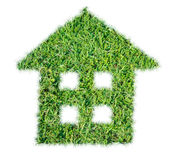 Abstract green grass house icon Stock Photography