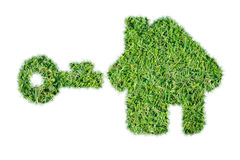 Abstract green grass house icon. On over white background royalty free stock photo