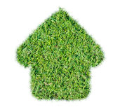 Abstract green grass house icon Stock Image