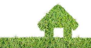 Abstract green grass house icon. On over white background stock photography