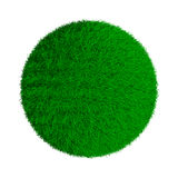Abstract green grassy ball. Isolated 3d image Stock Image