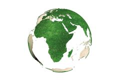 Abstract green grassy Earth globe (Africa) Royalty Free Stock Image