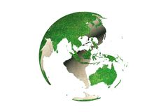 Abstract green grassy Earth globe (Asia). 3D rendering of rotation abstract green Earth globe Asia and Australia side  (looking as grassy Stock Photo