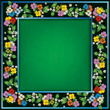 Abstract green grunge background with spring flowers. Abstract green grunge background frame with spring flowers vector illustration