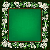 Abstract green grunge background with spring flowers. Abstract green grunge background frame with white flowers royalty free illustration
