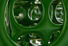 Abstract green interior with round holes constructions, 3d illustration Stock Photography